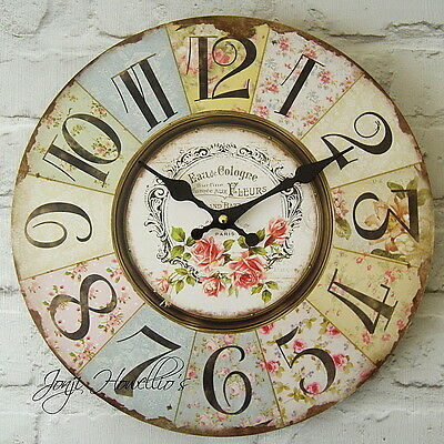 Large Vintage Shabby Chic Style FLORAL Rose Patchwork wall CLOCK  French clock
