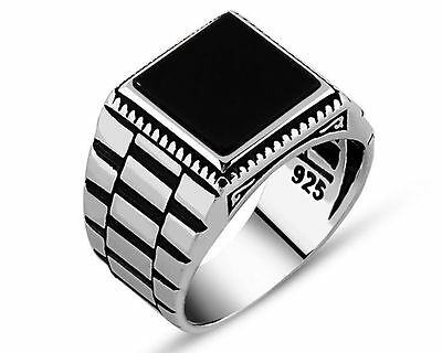 Hand made finish mens ring with black onyx stone -Sterling Silver ring 925