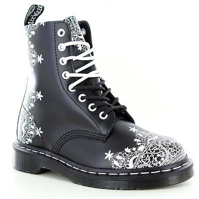 Dr Martens Pascal Lace Womens 8-Eyelet Leather Boots Black