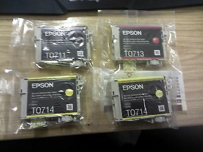 EPSON GENUINE ORIGINAL T0711 T0713 2x T0714 =4 bk/mag/yel EPSON Ink Cartridges