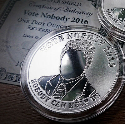 SILVER SHIELD - OLIGARCHY - VOTE NOBODY - 1oz .999 SILVER PROOF COIN 2016