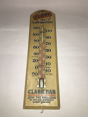Vintage Wooden Clark Bar Thermometer.     865-W