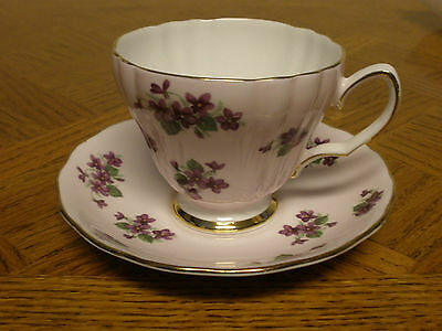 Colclough China Teacup & Saucer Purple Violets On Pink
