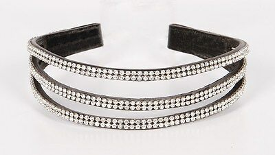 Harry's Horse Stirnband Triple Stirnriemen Leder 3-reihig Strass VB WB COB FULL