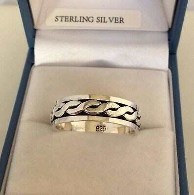 UK Made Men's STERLING SILVER Ring Celtic Twist 6mm Wide Band Sizes T, Y, Z