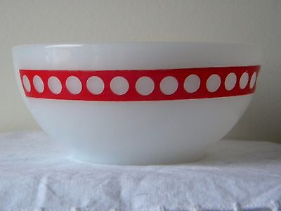 Vintage Termocrisa Cereal Bowl White Red Trim And Dots
