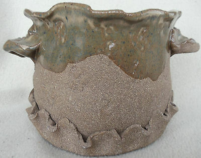 Studio Pottery Vase Bowl Abstract Art Handcrafted Rough & Smooth Textures