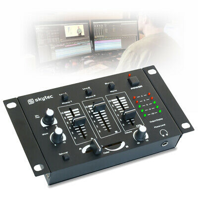 Skytec 4 Channel Compact Mini Mixer LED Meter Bedroom DJ Disco House Party
