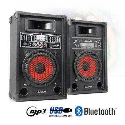 "Pair 8"" Inch Active Party Speakers USB MP3 Karaoke System 5 Band EQ Home DJ 600W"