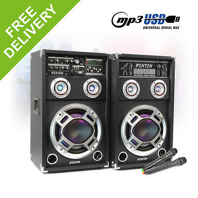 "Pair 8"" Inch Active Party Speakers RGB LED DJ Karaoke System Wireless Mics 600W"