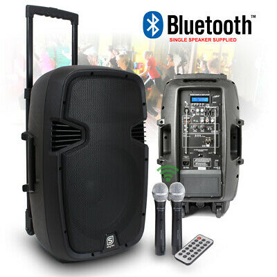 """12"""" Inch Portable Active PA Speaker VHF Mics MP3 Bluetooth 500W Battery Powered"""