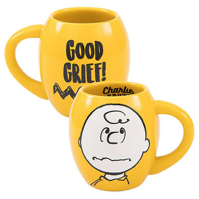 Peanuts Charlie Brown Good Grief 18 ounce Yellow Oval Ceramic Mug NEW UNUSED