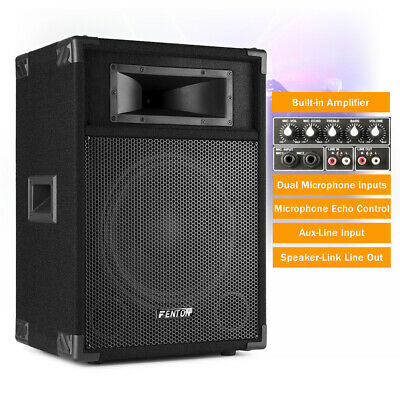 "CSA-12 12"" Inch Active PA Speaker Portable Powered Karaoke System DJ Disco 600W"