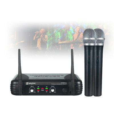 Skytec 2 Channel Dual Handheld Wireless Mic System UHF Radio Vocal Microphone