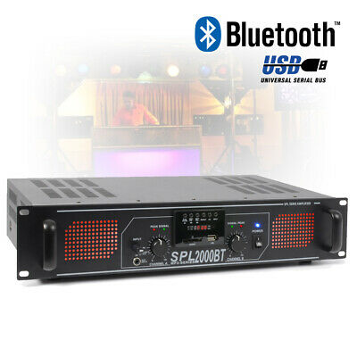 SPL-2000BT Two Channel Power Amplifier Bluetooth Amp Hi-Fi Home DJ Party 2000W