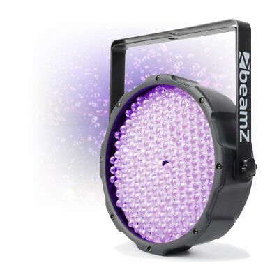 Beamz UV Flat Par 186x 10mm Ultraviolet LED DMX Light Slim Can DJ Party Lighting