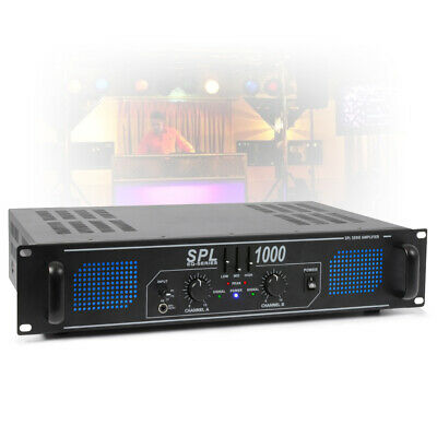 SPL 1000W 2 Channel Power Amplifier 3 Band EQ AUX 2U Rack Mount DJ Party Amp