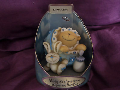 Baby Boy Ornament  Wishing You Lots Of  Love Miniature VGC In Box