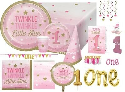Age 1 First 1st Birthday ONE LITTLE STAR GIRL Party Range Tableware Decorations