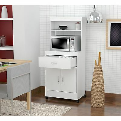 TALL KITCHEN CABINET Microwave Cart Stand Rolling Shelf Drawer ...