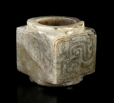 RARE INCISED CHINESE WESTERN ZHOU DYNASTY (ca. 1000 B.C.) JADE CONG