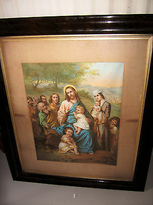 Large Antique frame catholic holy religious framed picture jesus dated 1883