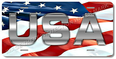 USA American Flag Patriotic Novelty License Plate Tag Pickup Truck Car Gift Dad