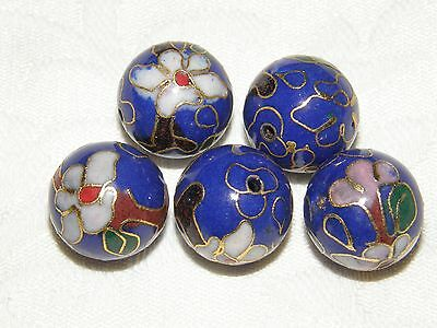 10 Blue Round Cloisonne Floral Beads with Pink Flower and Bud, 16 mm