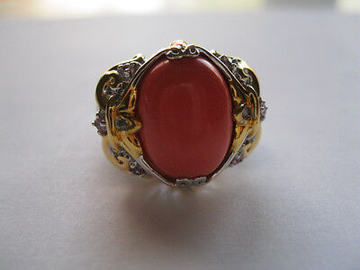 Signed NH Sterling Silver Coral Colored Cabochon Ornate Ring  Sz 8