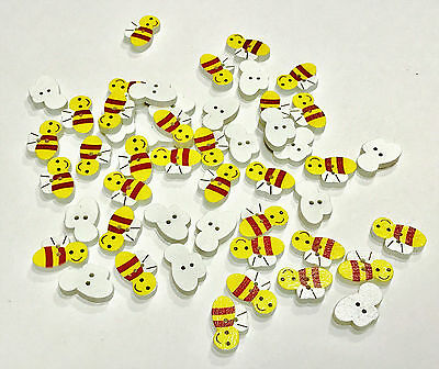 Wood Bumble Bee Buttons Craft Scrapbook Sewing Cards Embellishments