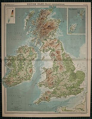 1921 Large Map ~ British Isles Land Heights Highland Mountains Penine Chain