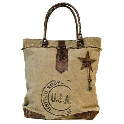Large Recycled USA Canvas & Leather Purse Tote Bag