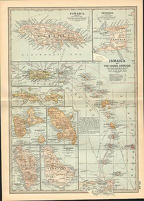 1903 Map ~ Jamaica & The Lesser Antilles ~ Insets Guadeloupe Martinique Barbados