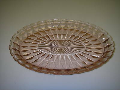 "Jeannette Glass WINDSOR DIAMOND Pink Platter Oval 11½"" Depression 1936-1946"