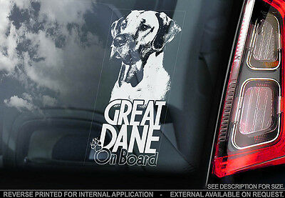 Great Dane - Car Window Sticker - Dog Sign -V02