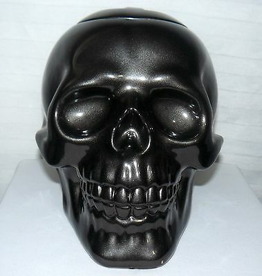 Gothic Matte Black Skull Cookie Jar 2011 Halloween Candy Dish Canister