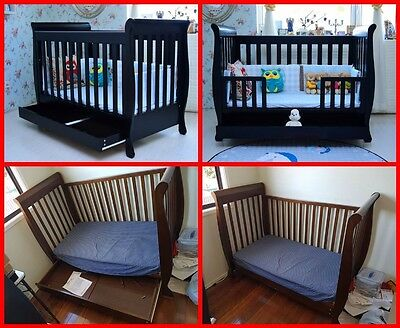 3 in 1 Chocolate Sleigh Cot/Toddler Bed with Mattress - Excellent Condition!