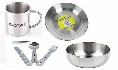 Summit Stainless Steel Camping Outdoor Plate, Bowl, Mug 300ml & Cutlery set 4in1