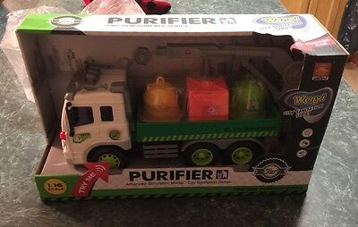 Wenyi friction powered City Sanitation Seriers Purifer Truck lights & sound NEW
