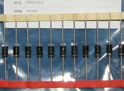 10pcs FAIRCHILD 1N5406 600V 3A RECTIFIER DIODES TUBE AMP RECTIFIER POWER PART