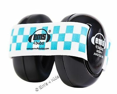 Em's 4 Bubs Hearing Protection Baby Earmuffs (Black with Blue & White)