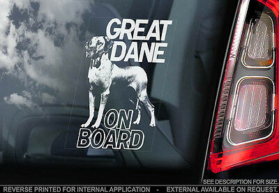 Great Dane - Car Window Sticker - Dog Sign -V01