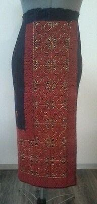Romanian wrap skirt handmade wool & metallic thread sequin on navy blue wool