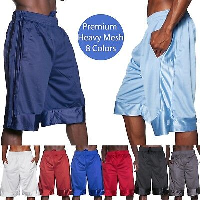 Mens HEAVY MESH SHORTS Basketball Pants Gym Premium Pockets Basic Jersey Fitness