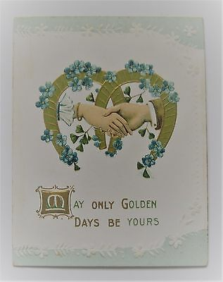 Victorian New Year Folder Card Embossed Horseshoes with Shaking Hands