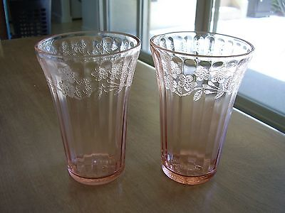 """Cherry Blossom Pink 5"""" high Pattern at Top PAT Flat Tumblers Set of Two"""