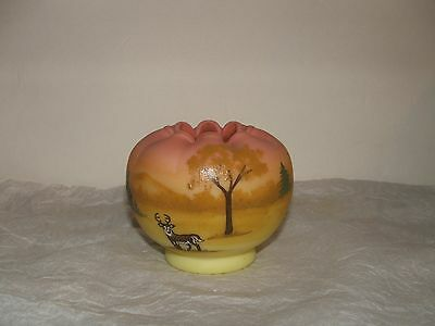 Fenton Burmese Vase Hand Painted by Marilyn Wagner