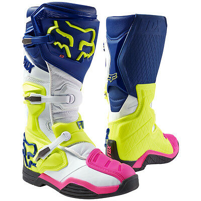 2017 Fox MX Comp 8 Race Boots - Navy Blue/White Offroad Trail Enduro Motocross