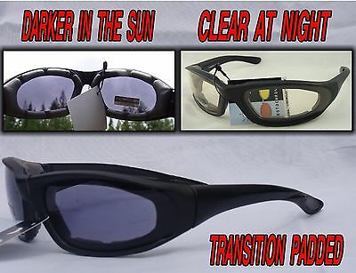 Transition Padded Riding Glasses Darker in Sun Clear at Night #4728SS/BR