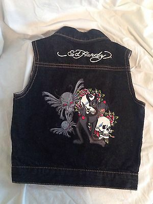 Baby Don Ed Hardy Embroidered Skulls And Roses Denim Vest Size 18 Mos